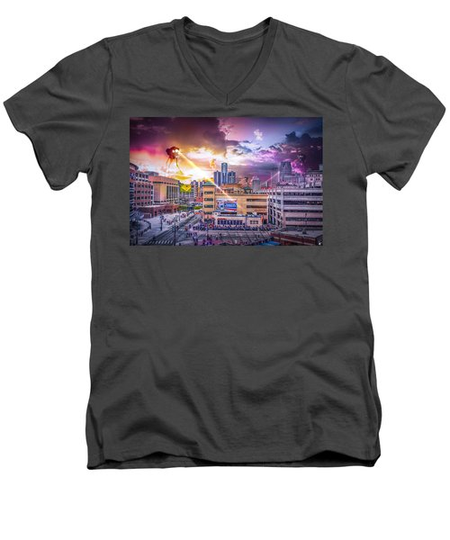 Men's V-Neck T-Shirt featuring the photograph War Of The Worlds Detroit By Nicholas Grunas by Nicholas  Grunas