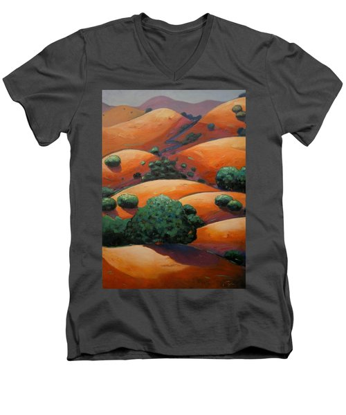 Warm Afternoon Light On Ca Hillside Men's V-Neck T-Shirt by Gary Coleman