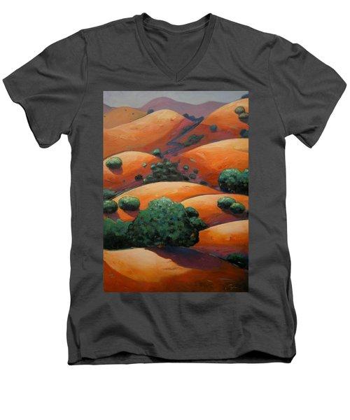 Warm Afternoon Light On Ca Hillside Men's V-Neck T-Shirt