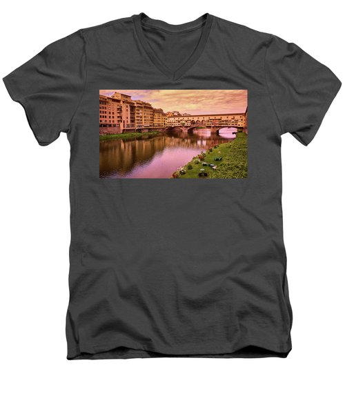 Sunset At Ponte Vecchio In Florence, Italy Men's V-Neck T-Shirt