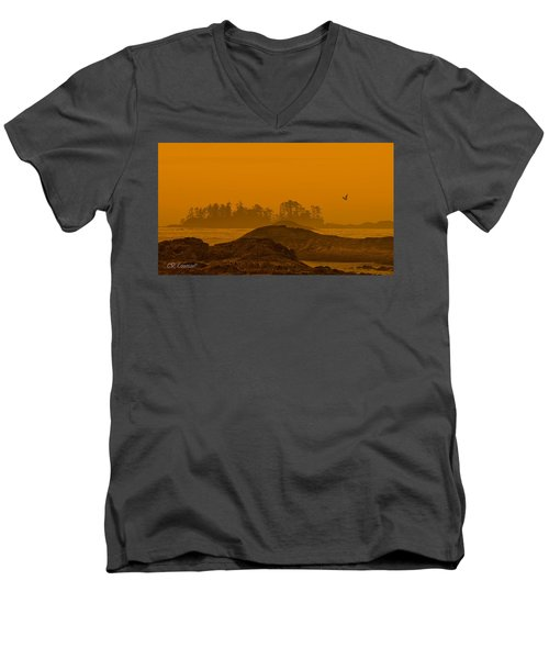 Warm Glow Men's V-Neck T-Shirt by CR  Courson