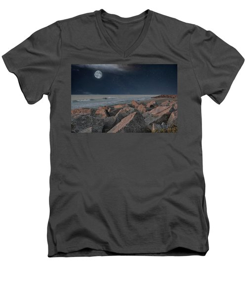 Warm Moonrise At For Fisher Men's V-Neck T-Shirt