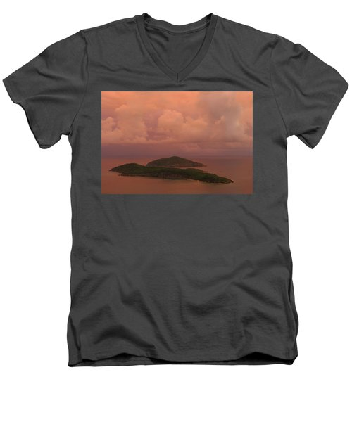 Men's V-Neck T-Shirt featuring the photograph Warm Sunset Palette Of Inner And Outer Brass Islands From St. Thomas by Jetson Nguyen