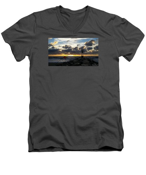 Men's V-Neck T-Shirt featuring the photograph Warning Flag At Sunrise by Robert Banach
