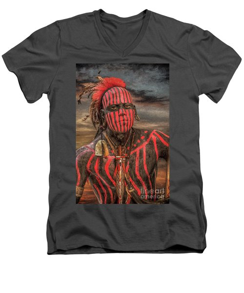Men's V-Neck T-Shirt featuring the digital art Warpath Shawnee Indian by Randy Steele