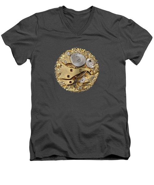 Warped And Shattered Clockwork Mechnism Men's V-Neck T-Shirt by Michal Boubin