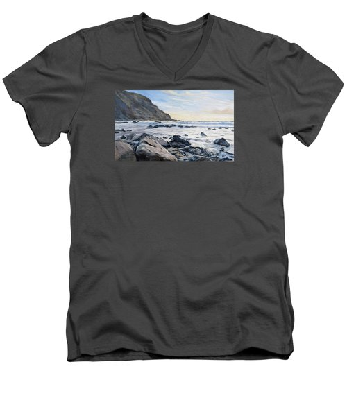Men's V-Neck T-Shirt featuring the painting Warren Point Sunset Duckpool by Lawrence Dyer