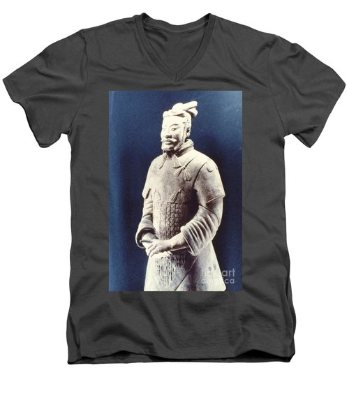 Men's V-Neck T-Shirt featuring the photograph Warrior Of The Terracotta Army by Heiko Koehrer-Wagner