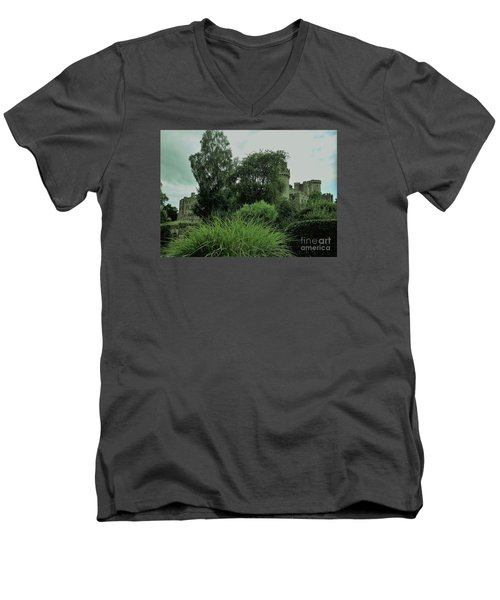 Warwick Castle Bathed In Green Light Men's V-Neck T-Shirt