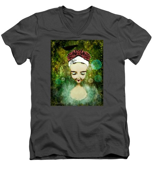 Men's V-Neck T-Shirt featuring the digital art Wash Your Face Each Night by Delight Worthyn