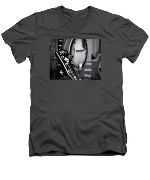 Men's V-Neck T-Shirt featuring the photograph Washburn Guitar by Andy Crawford