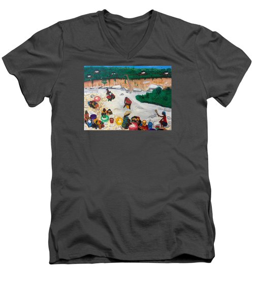 Men's V-Neck T-Shirt featuring the painting Washing Clothes By The Riverside In Haiti by Nicole Jean-Louis