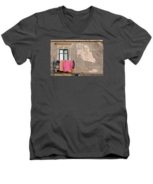 Washing Men's V-Neck T-Shirt by Robert Charity