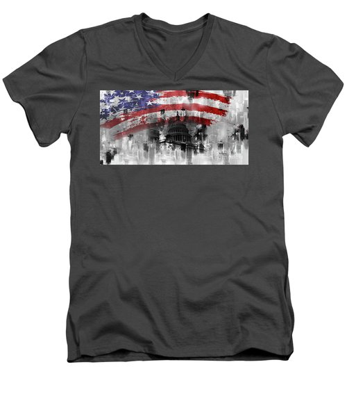 Men's V-Neck T-Shirt featuring the painting Washington Dc Building 01a by Gull G