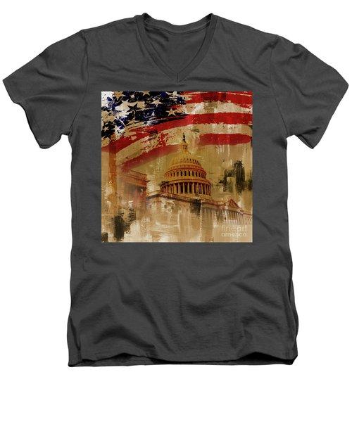 Washington Dc Men's V-Neck T-Shirt by Gull G