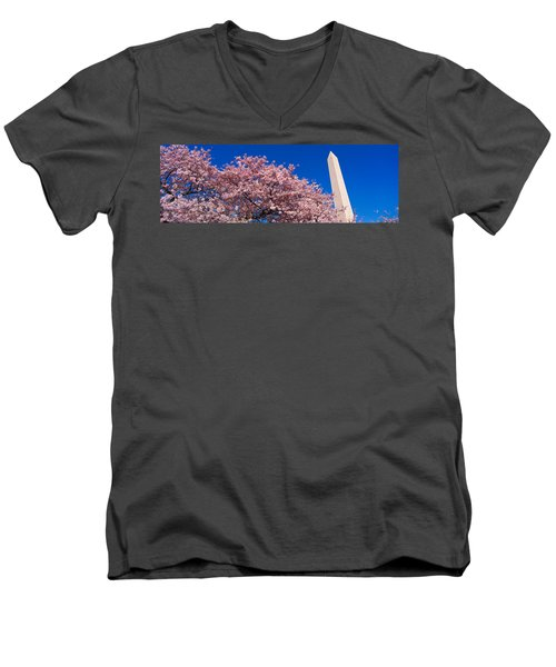 Washington Monument & Spring Cherry Men's V-Neck T-Shirt by Panoramic Images