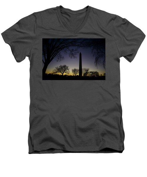 Washington Monument At Twilight With Moon Men's V-Neck T-Shirt