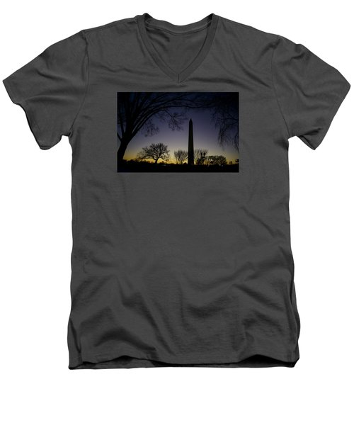 Washington Monument At Twilight With Moon Men's V-Neck T-Shirt