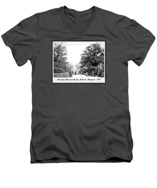 Men's V-Neck T-Shirt featuring the photograph Washington Monument Grounds Baltimore 1900 Vintage Photograph by A Gurmankin