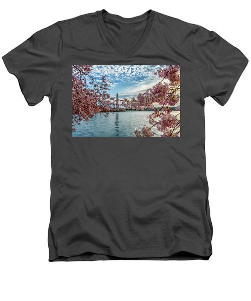 Washington Monument Through Cherry Blossoms Men's V-Neck T-Shirt