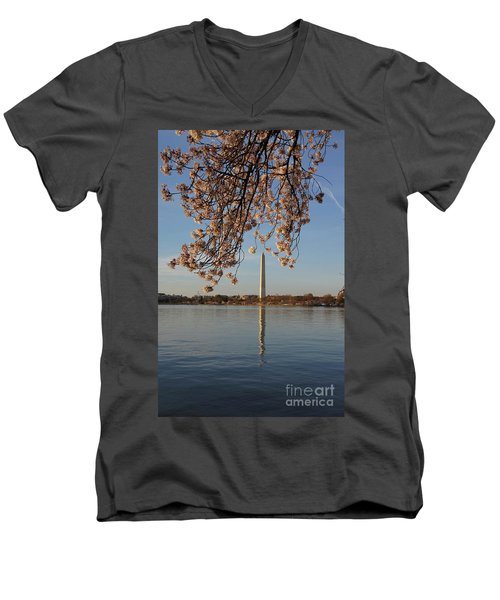 Washington Monument With Cherry Blossoms Men's V-Neck T-Shirt by Megan Cohen