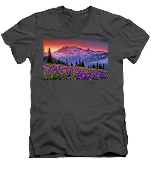 Washington, Mt Rainier National Park - 05 Men's V-Neck T-Shirt