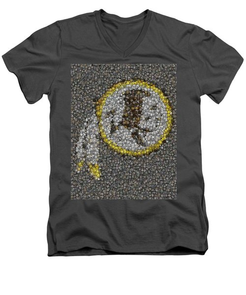 Men's V-Neck T-Shirt featuring the mixed media Washington Redskins Coins Mosaic by Paul Van Scott