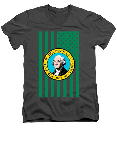 Washington State Flag Graphic Usa Styling Men's V-Neck T-Shirt by Garaga Designs