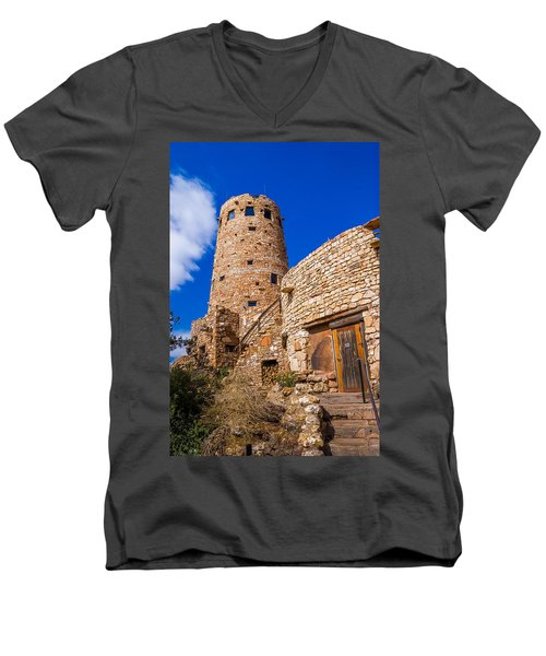 Men's V-Neck T-Shirt featuring the photograph Watch Tower by Jerry Cahill