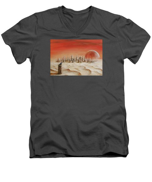 Men's V-Neck T-Shirt featuring the painting Watcher by Arturas Slapsys