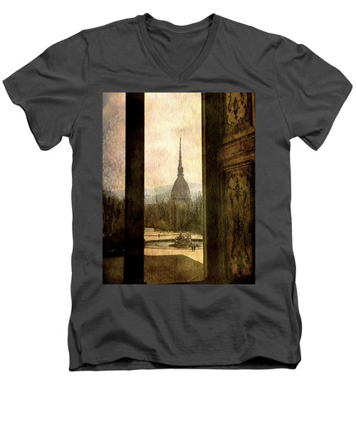 Watching Antonelliana Tower From The Window Men's V-Neck T-Shirt