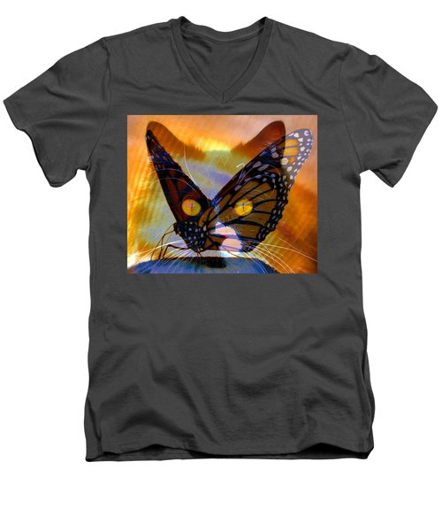 Men's V-Neck T-Shirt featuring the photograph Watching Butterlies by David Lee Thompson
