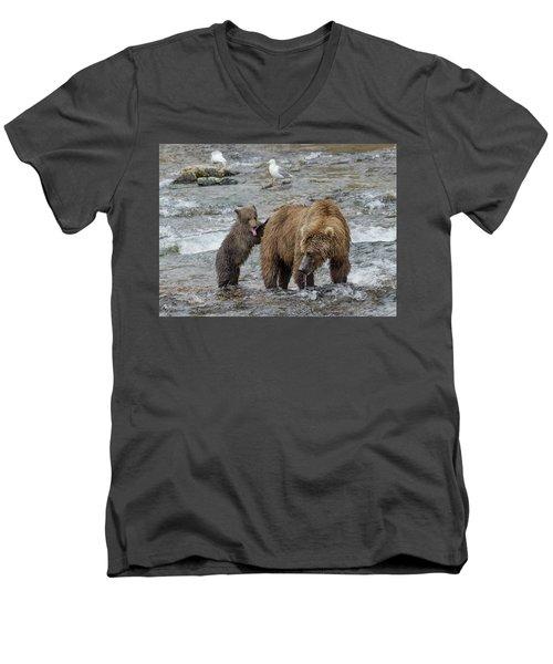 Watching For The Sockeye Salmon Men's V-Neck T-Shirt
