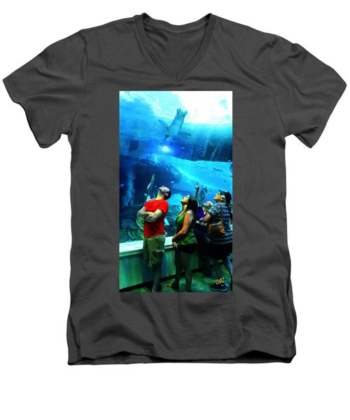 Watching The Penguins Fly Men's V-Neck T-Shirt