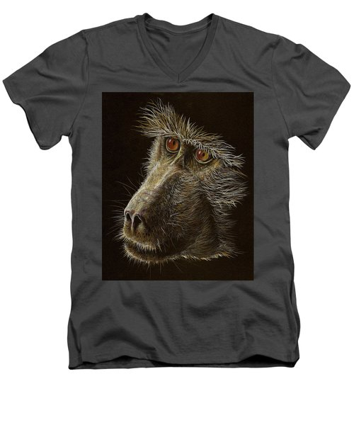 Men's V-Neck T-Shirt featuring the drawing Watching You by Heidi Kriel