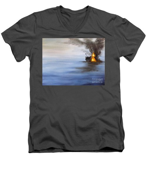 Water And Air Pollution Men's V-Neck T-Shirt by Annemeet Hasidi- van der Leij