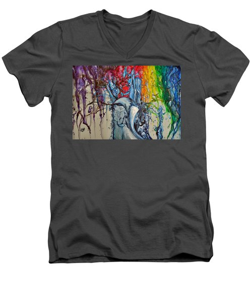 Water And Colors Men's V-Neck T-Shirt by Raymond Perez