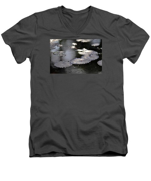 Men's V-Neck T-Shirt featuring the photograph Water And Leafs by Dubi Roman