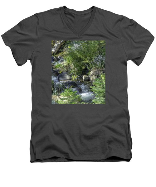 Men's V-Neck T-Shirt featuring the photograph Water And Wildflowers by Nancy Marie Ricketts