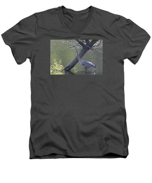 Water Bird And River Tree Men's V-Neck T-Shirt