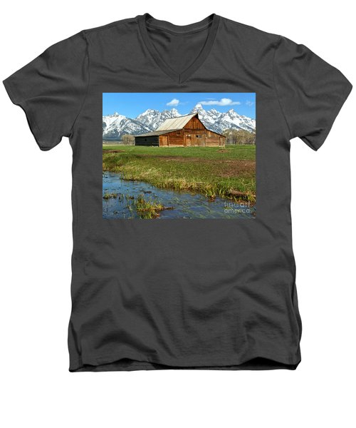 Water By The Barn Men's V-Neck T-Shirt by Adam Jewell