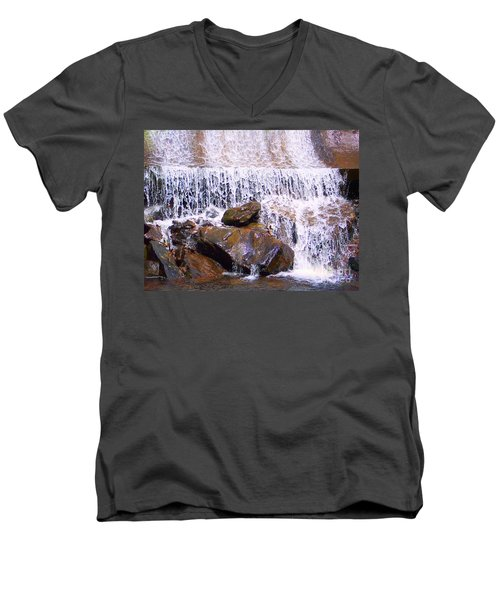 Men's V-Neck T-Shirt featuring the photograph Water Cascade by Roberta Byram