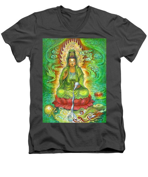 Water Dragon Kuan Yin Men's V-Neck T-Shirt