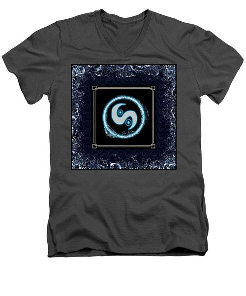 Men's V-Neck T-Shirt featuring the digital art Water Emblem Sigil by Shawn Dall