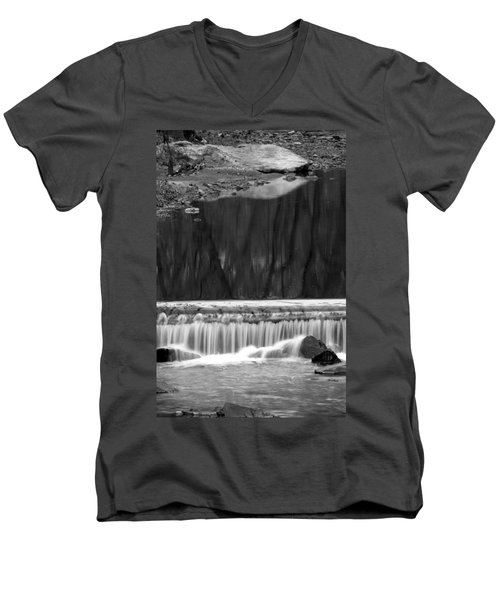 Men's V-Neck T-Shirt featuring the photograph Water Fall And Reflexions by Dorin Adrian Berbier