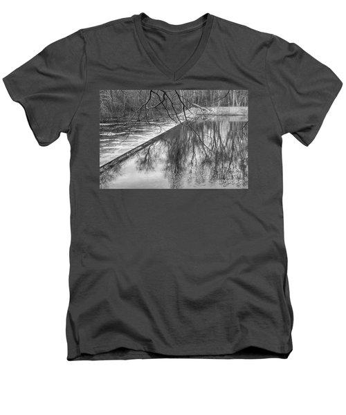 Water Flowing Over Dam In Wayne New Jersey Men's V-Neck T-Shirt