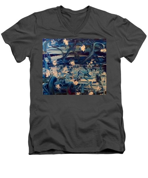 Men's V-Neck T-Shirt featuring the painting Water Garden Beyond Flight by Kicking Bear Productions