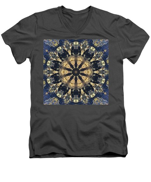 Men's V-Neck T-Shirt featuring the mixed media Water Glimmer 4 by Derek Gedney