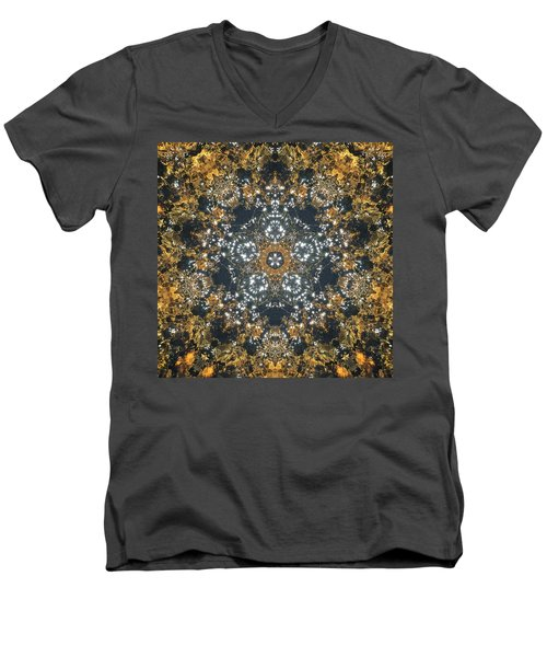 Men's V-Neck T-Shirt featuring the mixed media Water Glimmer 5 by Derek Gedney