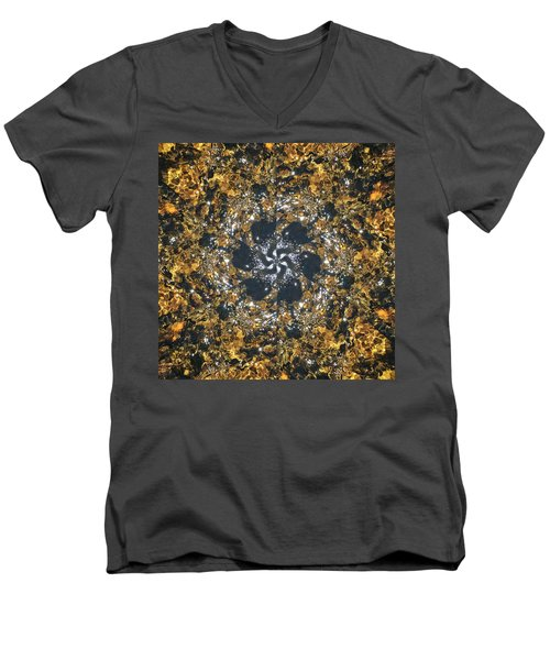 Men's V-Neck T-Shirt featuring the mixed media Water Glimmer 6 by Derek Gedney